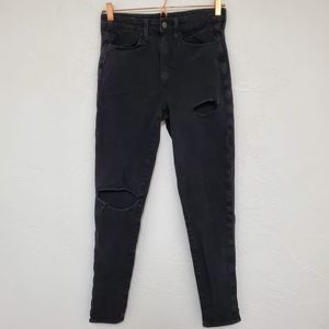 AMERICAN EAGLE | Black Distressed Stretch Jegging